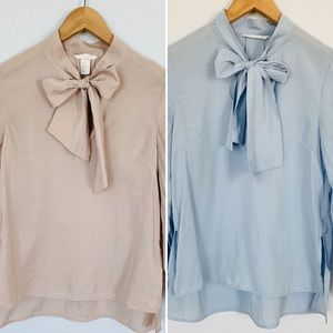 Set of 2 H&M Tie Neck Pussybow Blouses Size 0/XS